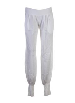 manila grace pantalons femme de couleur ecru