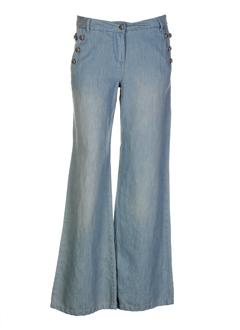 i.code (by ikks) pantalons femme de couleur bleu ciel