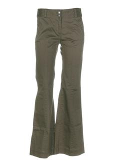 double one peace pantalons femme de couleur kaki