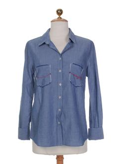 terre EFFI_CHAR_1 mer chemises femme de couleur bleu