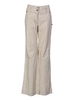 Pantalon casual beige DOUBLE ONE PEACE pour femme