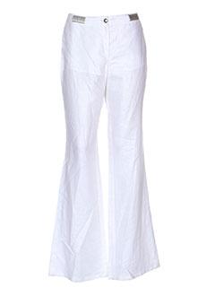 nathalie chaize pantalons femme de couleur blanc