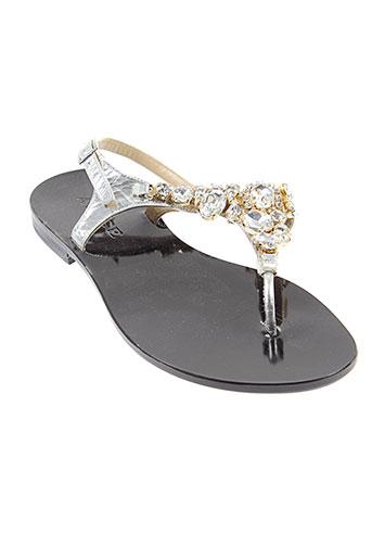 adige sandales et nu et pieds femme de couleur gris