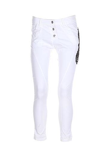 ambre babzoe pantalons femme de couleur blanc