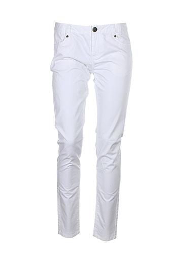 ekyog pantalons femme de couleur blanc