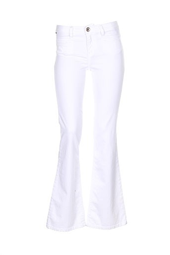 denim studio pantalons femme de couleur blanc