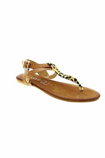 playa sandales et nu et pieds femme de couleur marron