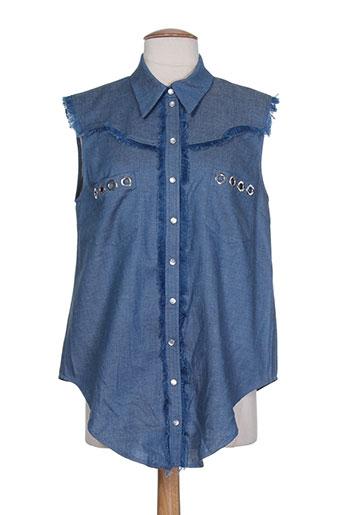 american retro chemises femme de couleur bleu