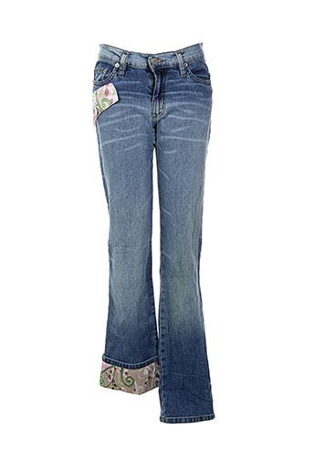 amnesia jeans et coupe et droite femme de couleur bleu