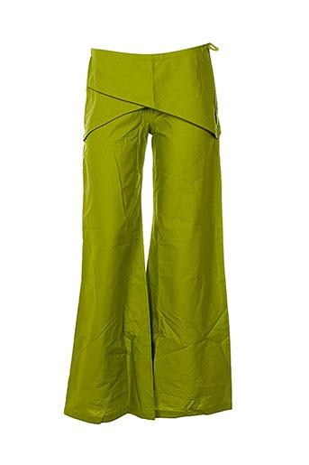 coton du monde pantalons femme de couleur vert