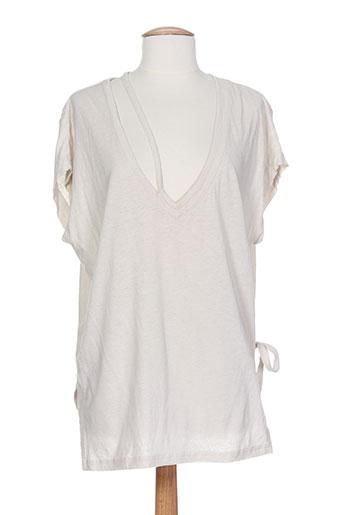 lou de beauregard t-shirts femme de couleur beige
