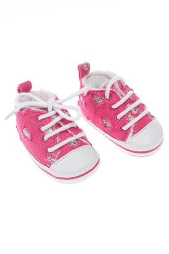 3 et pommes chaussons fille de couleur rose