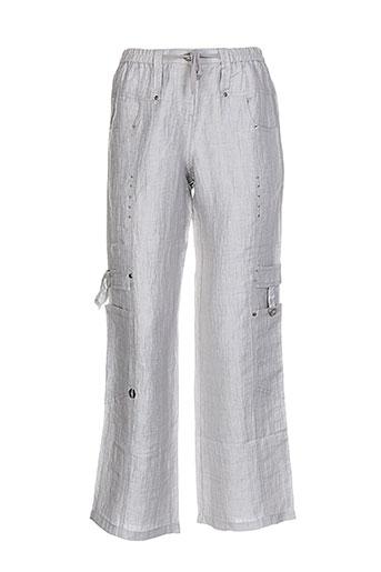 Pantalon casual gris CATY LESCA pour femme