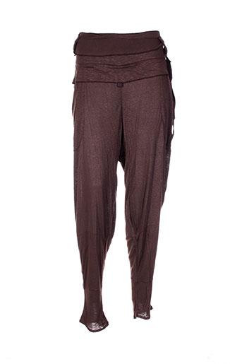 Pantalon casual marron CATY LESCA pour femme