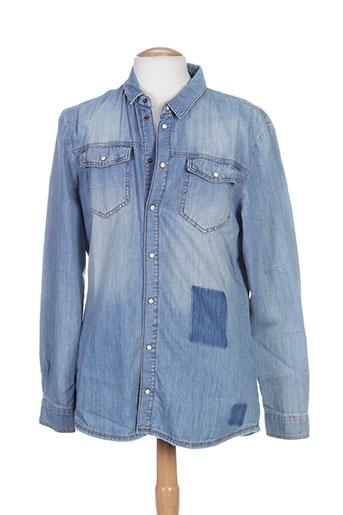 frankie morello chemises homme de couleur bleu