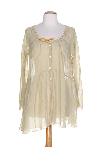 caty lesca chemises femme de couleur beige