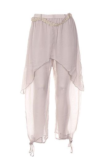 caty lesca pantalons femme de couleur beige