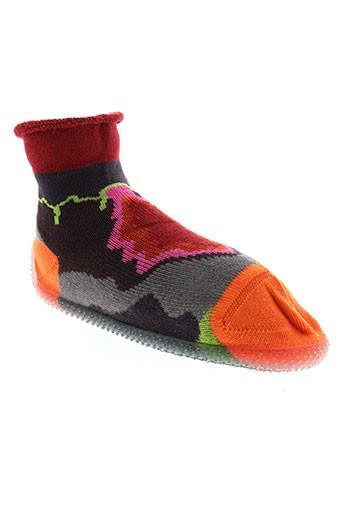 berthe et aux et grands et pieds chaussons fille de couleur orange