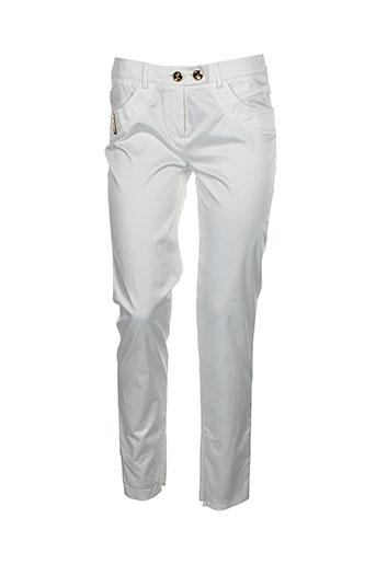 lasagrada pantalons femme de couleur blanc