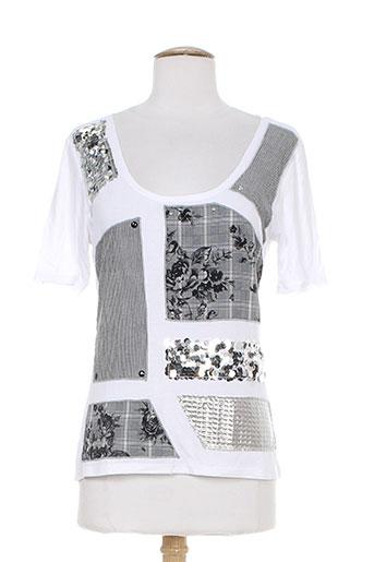 bleu d'azur t-shirts / tops femme de couleur blanc
