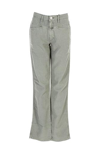 closed pantalons femme de couleur vert
