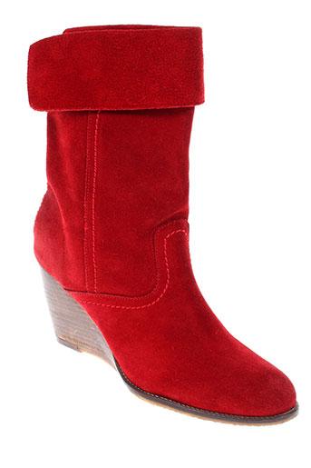 meline bottines femme de couleur rouge