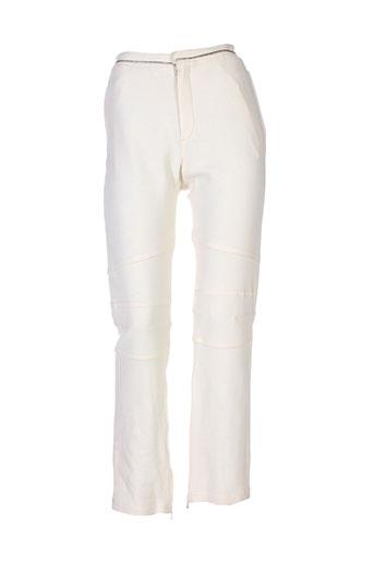kristina popovitch pantalons femme de couleur beige