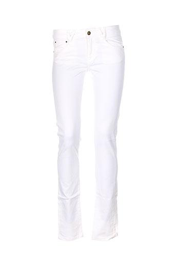 beyouk pantalons femme de couleur blanc