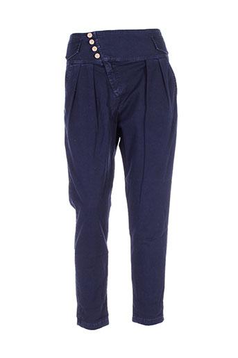 maryley pantalons femme de couleur bleu