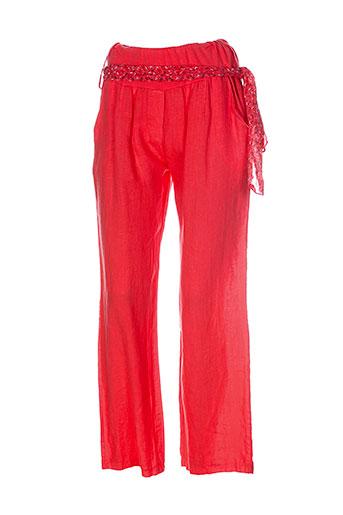 puro et lino pantalons et decontractes femme de couleur orange