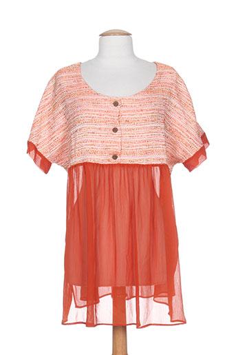 Tunique manches courtes orange ELIE BONNIE pour femme
