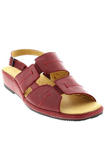 la et plume sandales et nu et pieds femme de couleur rouge