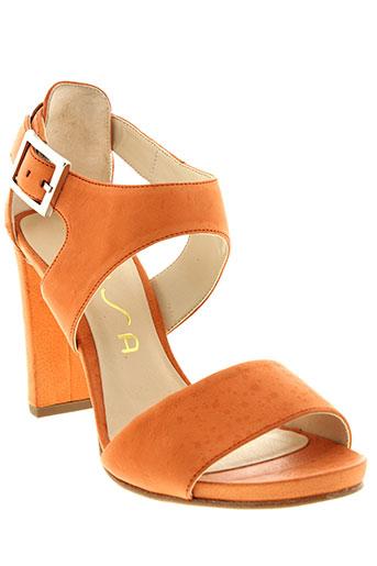 unisa sandales et nu et pieds femme de couleur orange