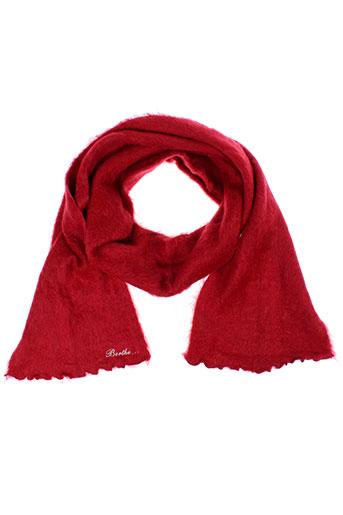 berthe et aux et grands et pieds echarpes et gants femme de couleur rouge