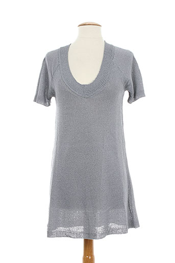 Pull tunique gris POLES pour femme