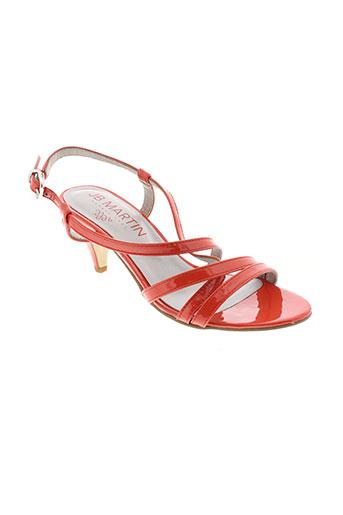jb et martin sandales et nu et pieds femme de couleur orange