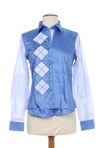 xoos chemises femme de couleur bleu