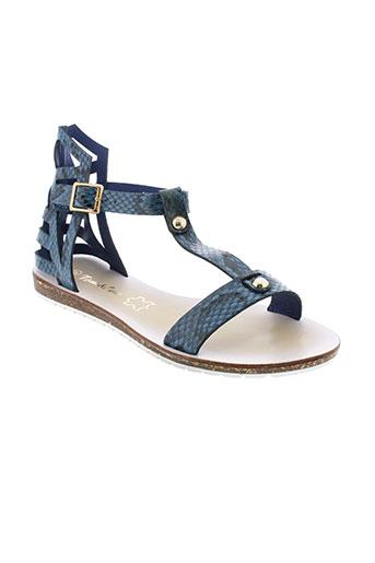 tom et eva sandales et nu et pieds femme de couleur bleu