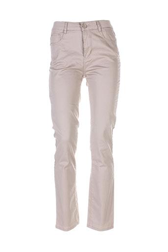 ky creation pantalons femme de couleur beige
