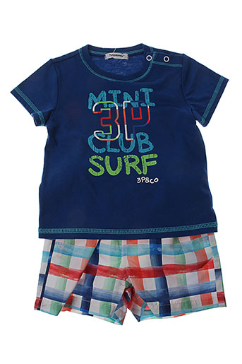 3 et pommes t et shirts et shorts garcon de couleur bleu (photo)