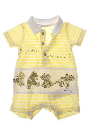3 et pommes combi et shorts garcon de couleur jaune (photo)