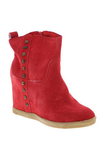 ilario et ferucci boots femme de couleur rouge