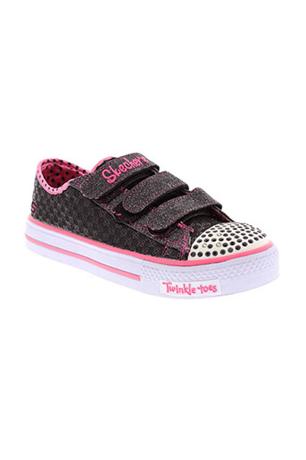 skechers baskets fille de couleur noir