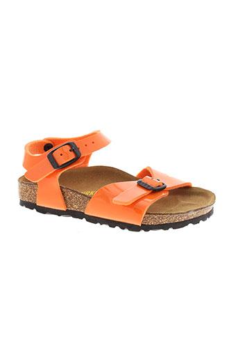 birkenstock chaussures fille de couleur orange