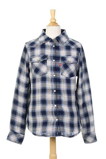 levis chemises fille de couleur bleu