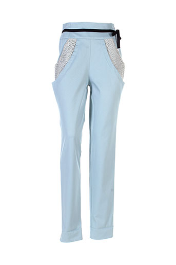 marie-lucie pantalons femme de couleur bleu