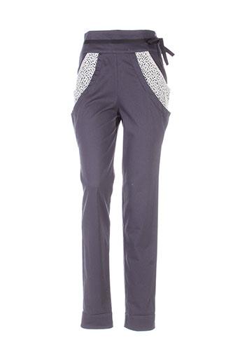 marie-lucie pantalons femme de couleur gris