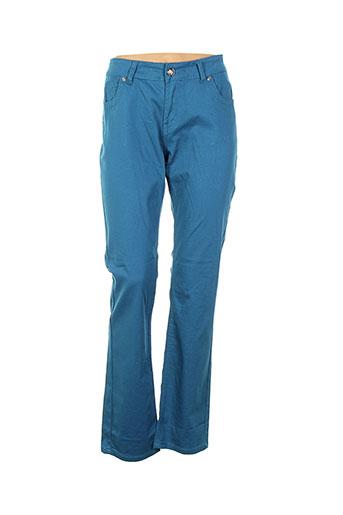 onado pantalons femme de couleur bleu