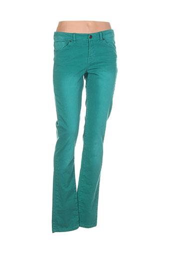 ikks pantalons femme de couleur vert