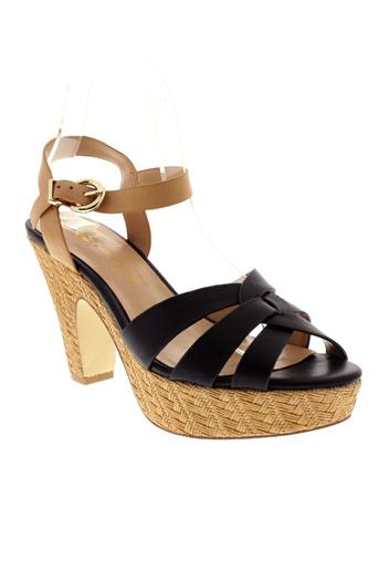 chocolate et schubar sandales et nu et pieds femme de couleur noir
